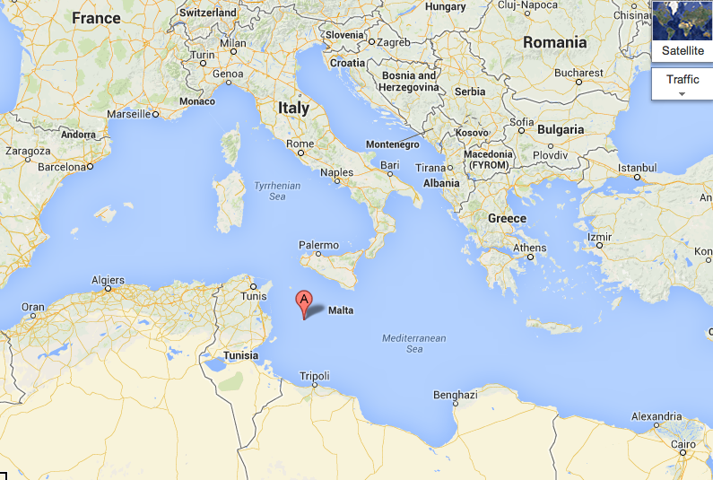 """A"" marks the small island of Lampedusa.  It is the entry point for those headed towards Italy and the rest of Europe."